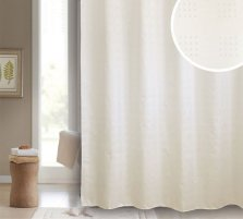Sofia Cream Square Pattern Polyester Shower Curtain