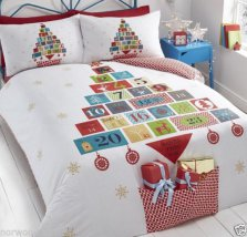 Christmas Advent Tree Reversible Duvet Cover Single Bed