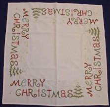 Merry Christmas Embroidered Table Topper
