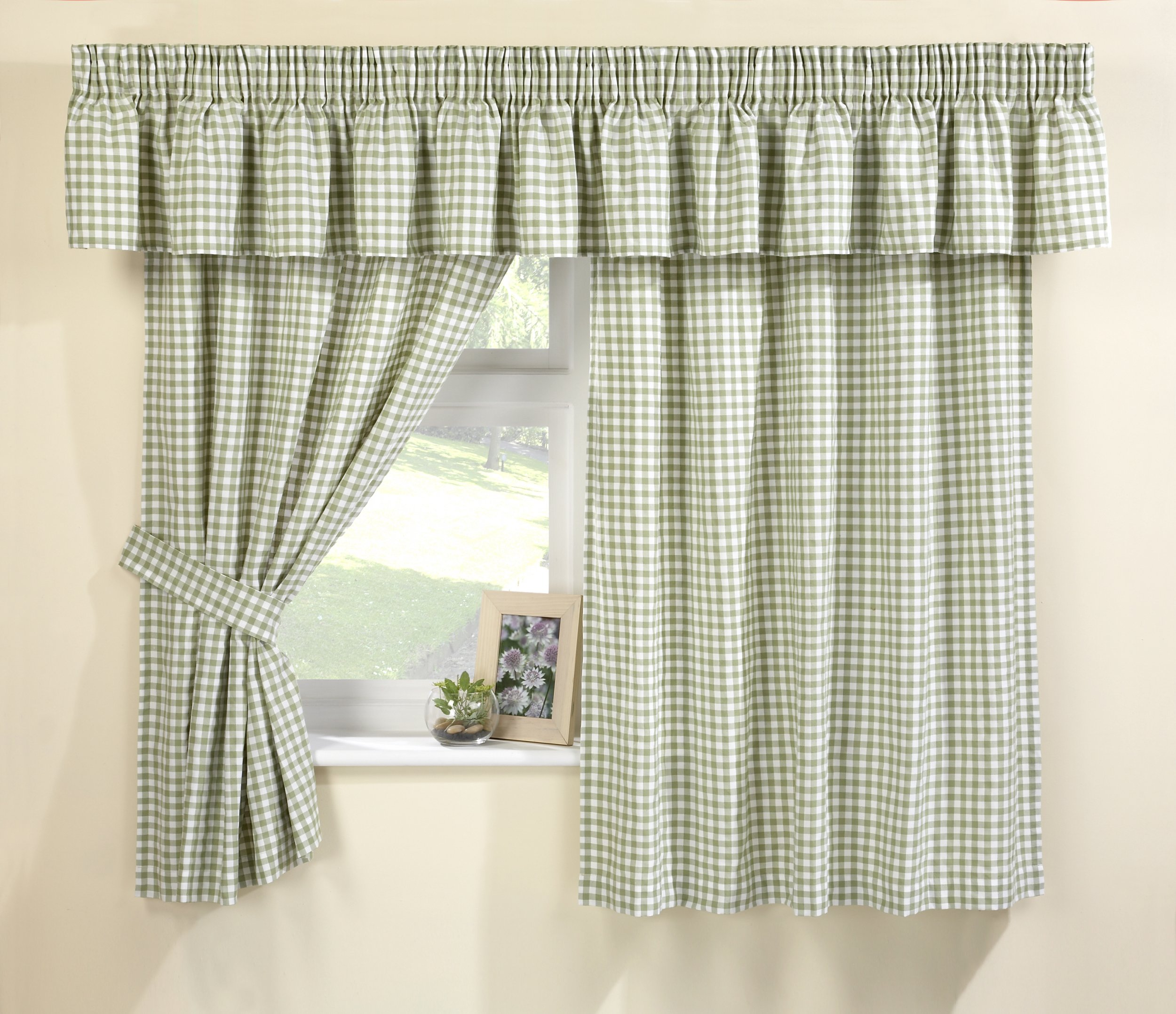 Green Gingham Kitchen Curtains Connollys Homestyle York