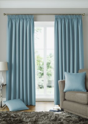 Solitaire Duck Egg Ready Made Curtains