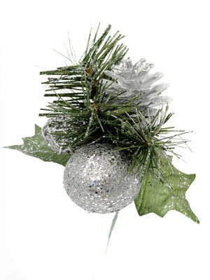Christmas Pinecone Glitter Pick Silver Artificial Flowers