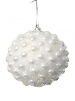 White Glitter Pearl Christmas Baubles 4 Pack