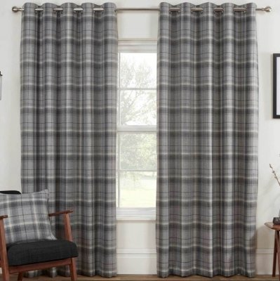 Carnoustie Grey Blackout Eyelet Ready Made Curtains