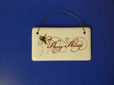 Happy Holidays Ceramic Plaque
