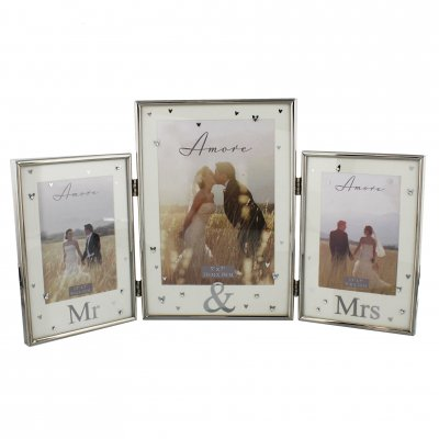 Amore Silverplated Triple Hinged Photo Frame