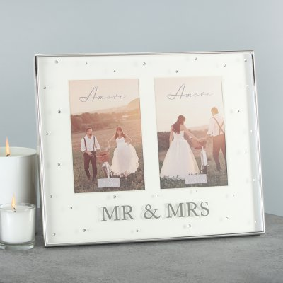 Amore Silverplated Mr & Mrs Double Photo Frame