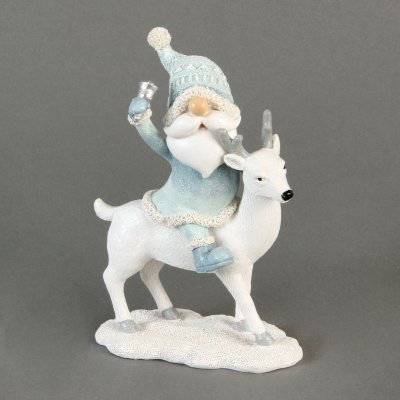 Hand Painted Resin Santa & Reindeer Figurine