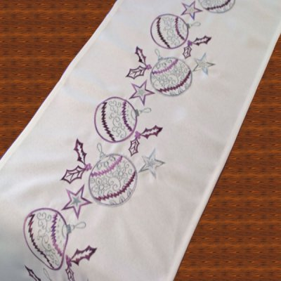 Purple Baubles Embroidered Table Runner