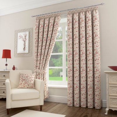 Sherwood Stone/Red Ready Made Curtains