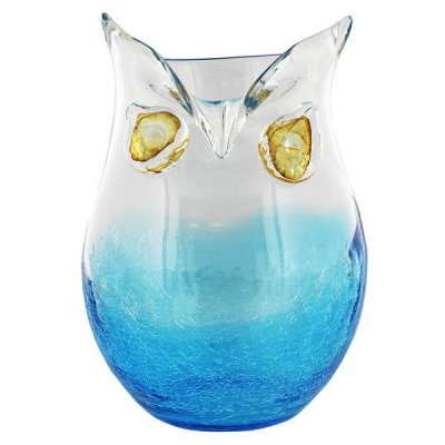 Large Blue Amp Clear Glass Owl Vase Connollys Homestyle York