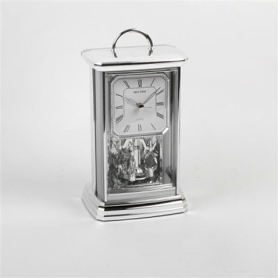 Rhythm Silver Oblong Mantel Clock