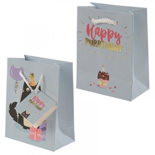 Feline Fine Happy Purrthday Cat Design Gift Bag: Small Feline Fine Gift Bag