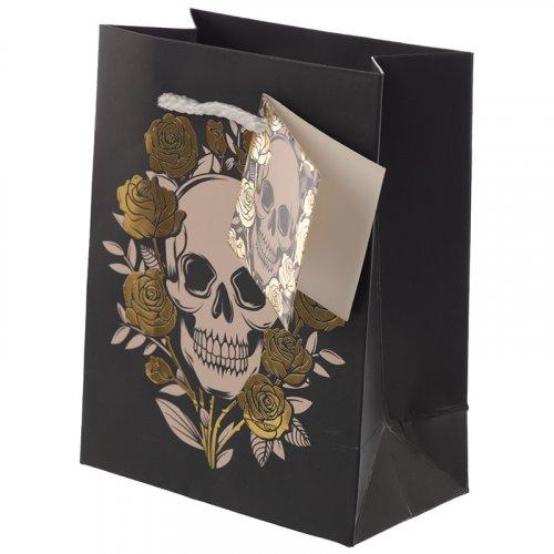 Metallic Skulls & Roses Gift Bag: Small Metallic Skulls & Roses Gift Bag