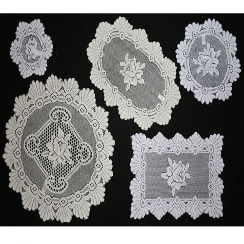 "Monica Lace Doilies and Tray Cloths: 20cm (8"") Round: Cream"