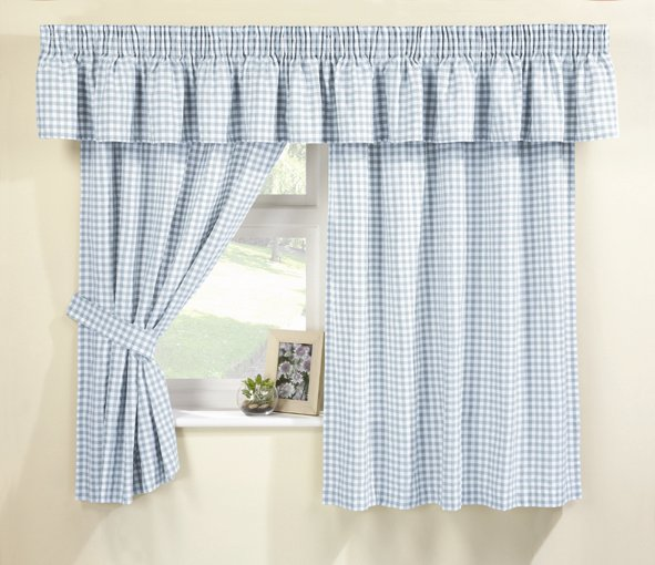 Blue Gingham Kitchen Curtains