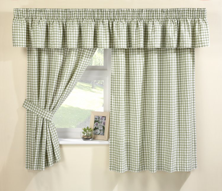 Green Gingham Kitchen Curtains